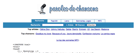 Paroles de chansons